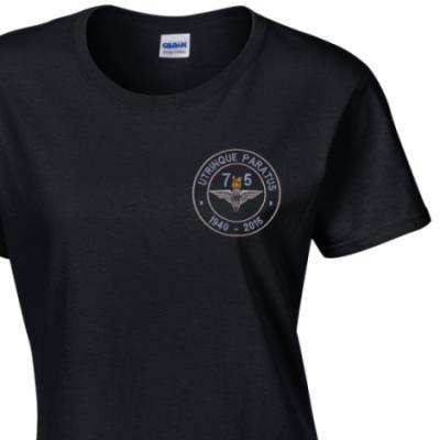 Lady's Crew Neck T-Shirt - Black - Airborne 75 (Para)