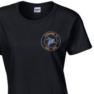 Lady's Crew Neck T-Shirt - Black - Airborne 75 (Pegasus)