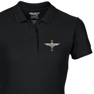 Lady's Polo Shirt - Black - 3 Para Cap-Badge (Print)