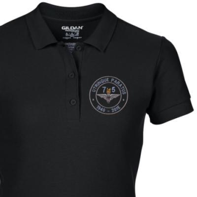 Lady's Polo Shirt - Black - Airborne 75 (Para)