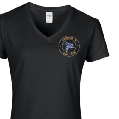 Lady's V-Neck T-Shirt - Black - Airborne 75 (Pegasus)