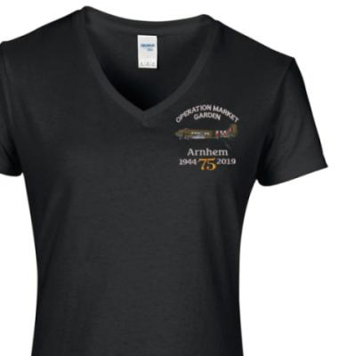 Lady's V-Neck T-Shirt - Black - Arnhem Dakota 75th