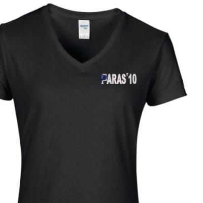 Lady's V-Neck T-Shirt - Black - Paras 10