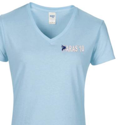 Lady's V-Neck T-Shirt - Sky Blue - Paras 10