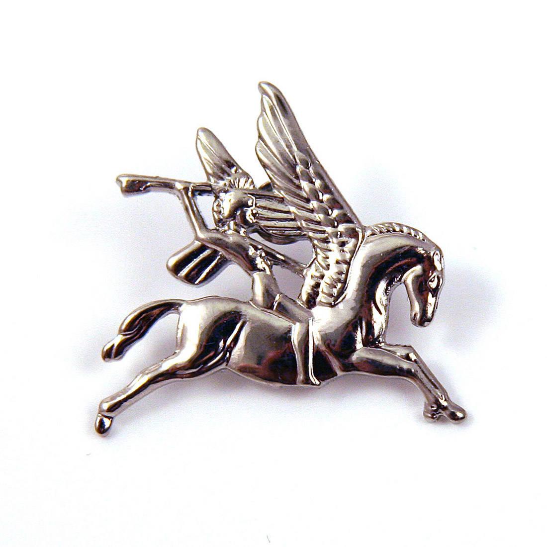 Chrome Pegasus Lapel Badge