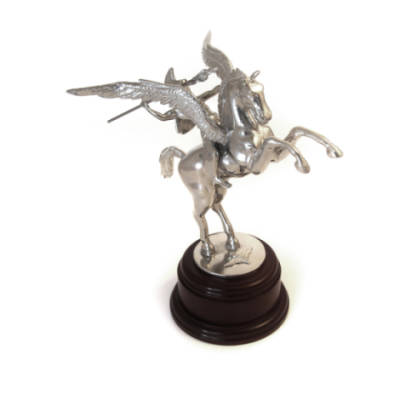 Pegasus With Bellerophon Statue (9 Inch, Polished Pewter)