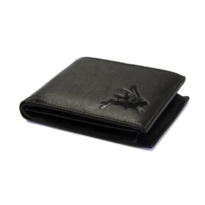 Embossed Black Leather Wallet - Pegasus