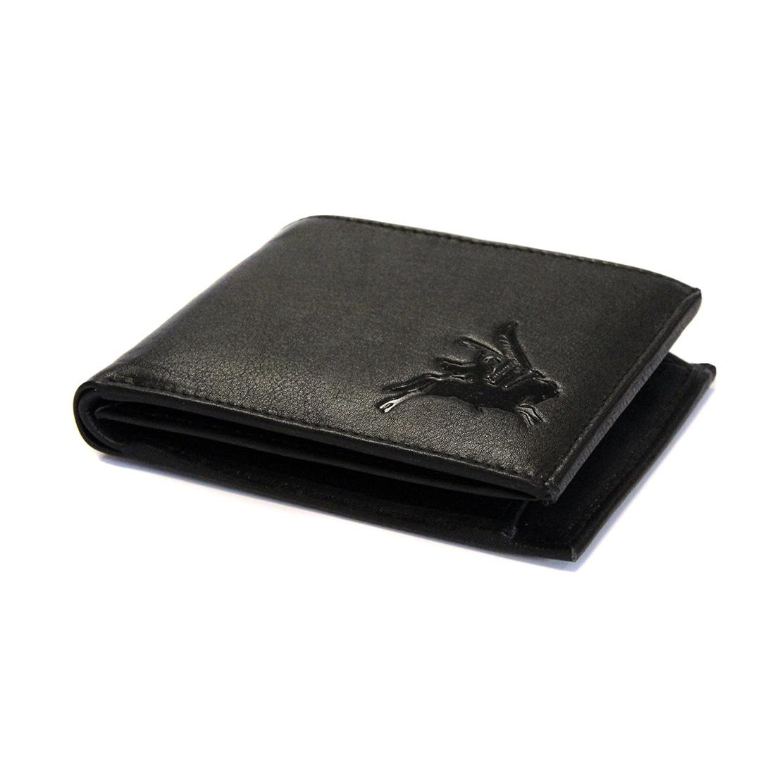 Embossed Black Leather Wallet - Pegasus
