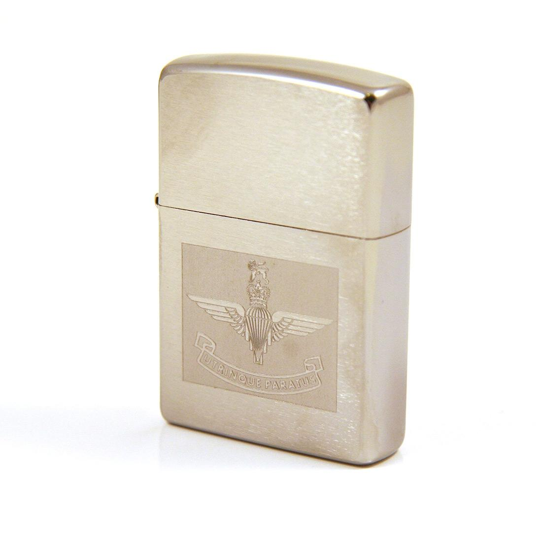 Zippo Lighter with Engraved Parachute Regiment Emblem
