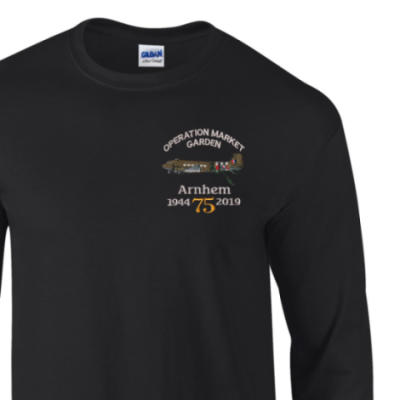 Long Sleeved T-Shirt - Black - Arnhem Dakota 75th