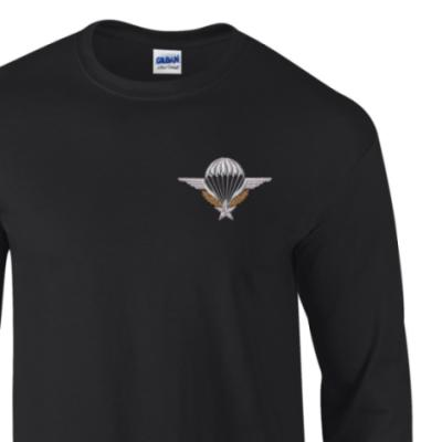 *CLEARANCE* Long Sleeved T-Shirt, Large, Black, French Para Wings