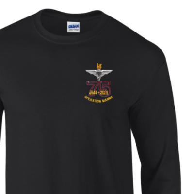 Long Sleeved T-Shirt - Black - Operation Manna 75th (Para)