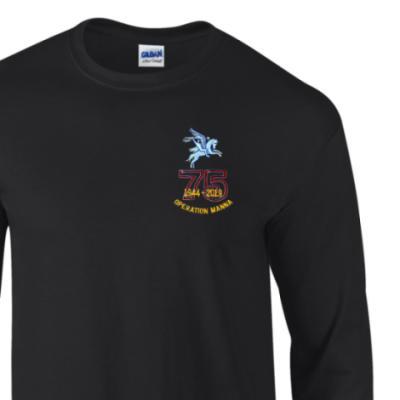 Long Sleeved T-Shirt - Black - Operation Manna 75th (Pegasus)