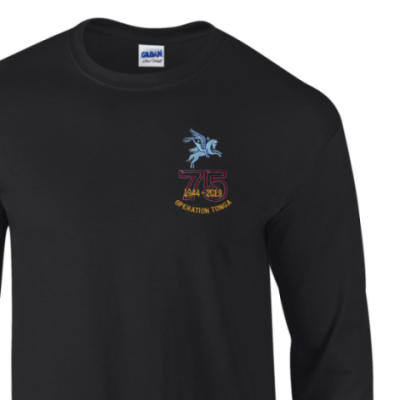 Long Sleeved T-Shirt - Black - Operation Tonga 75th (Pegasus)