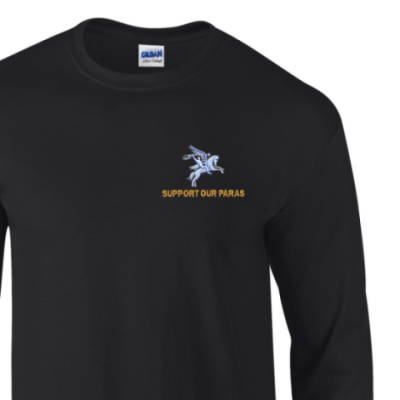 Long Sleeved T-Shirt - Black - Support Our Paras (Pegasus)