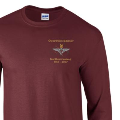 *CLEARANCE* Long Sleeved T-Shirt, Medium, Maroon, Operation Banner (Para)