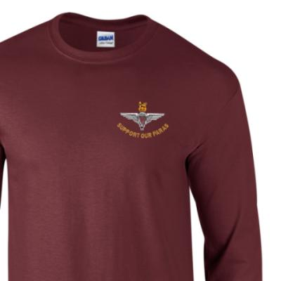 *CLEARANCE* Long Sleeved T-Shirt, Large, Maroon, Support Our Paras (Parachute Regiment)