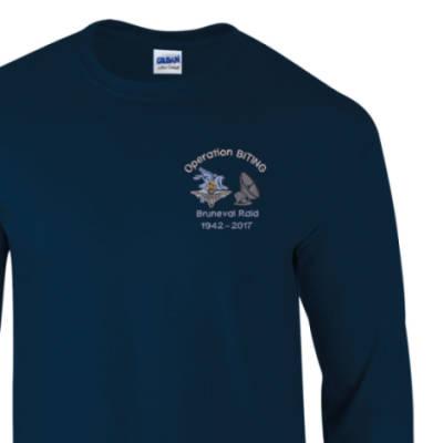 Long Sleeved T-Shirt - Navy - Bruneval Raid (Operation Biting) 75th