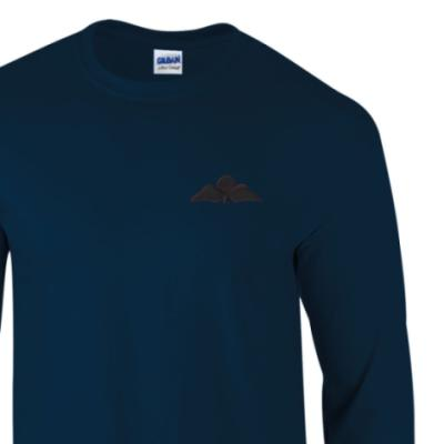 *CLEARANCE* Long Sleeved T-Shirt, XXL, Navy, Jump Wings (Black Subdued)