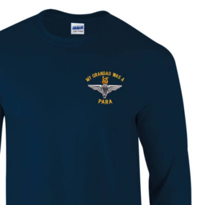 Long Sleeved T-Shirt - Navy - My Grandad Was A Para (Para)