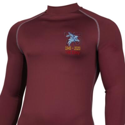 *CLEARANCE* Long Sleeved Thermal Top, XXL, Maroon, VE Day 75th (Pegasus)