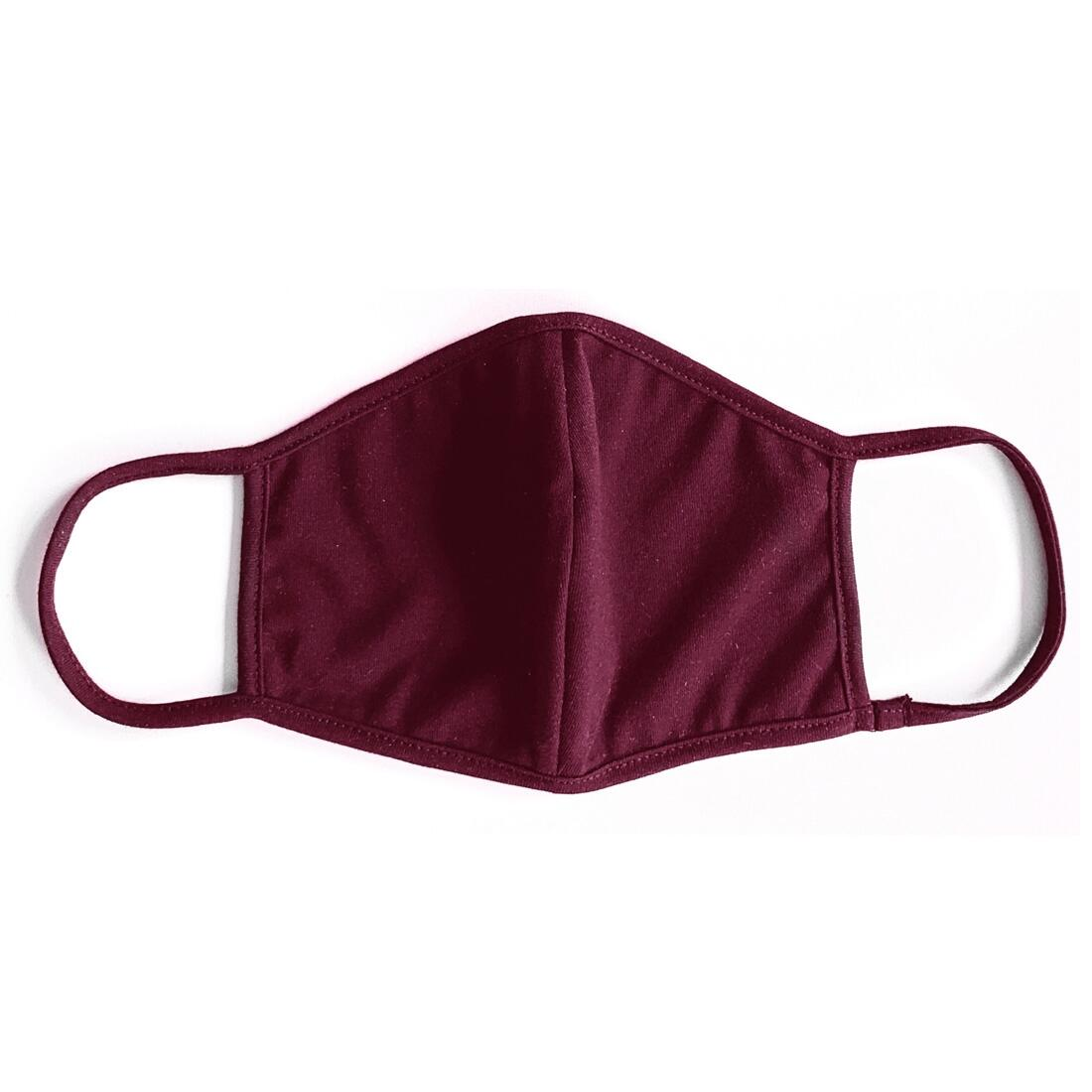 Plain Maroon Face Covering (Mask) with Washable FFP2 Filter