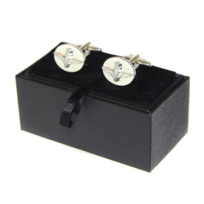 Oval Embossed Cufflinks (Silver Plated)