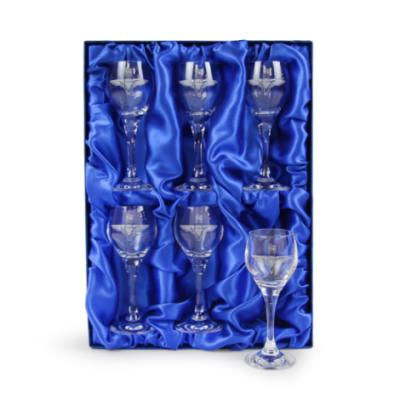 6 Crystal Port Glasses Engraved - Parachute Regiment