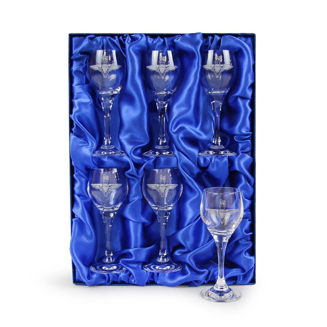 6 Crystal Port Glasses Engraved - Parachute Regiment