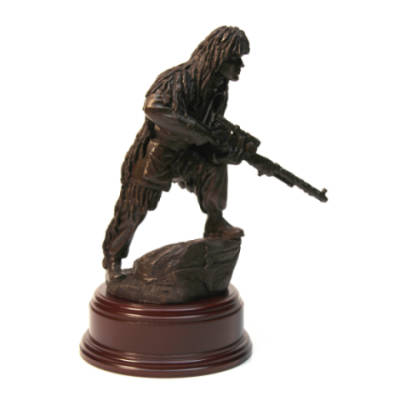 Para Sniper In Ghillie Suit Statue (11 Inch, Resin Bronze)