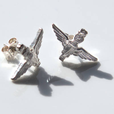Sterling Silver Para Stud Earrings