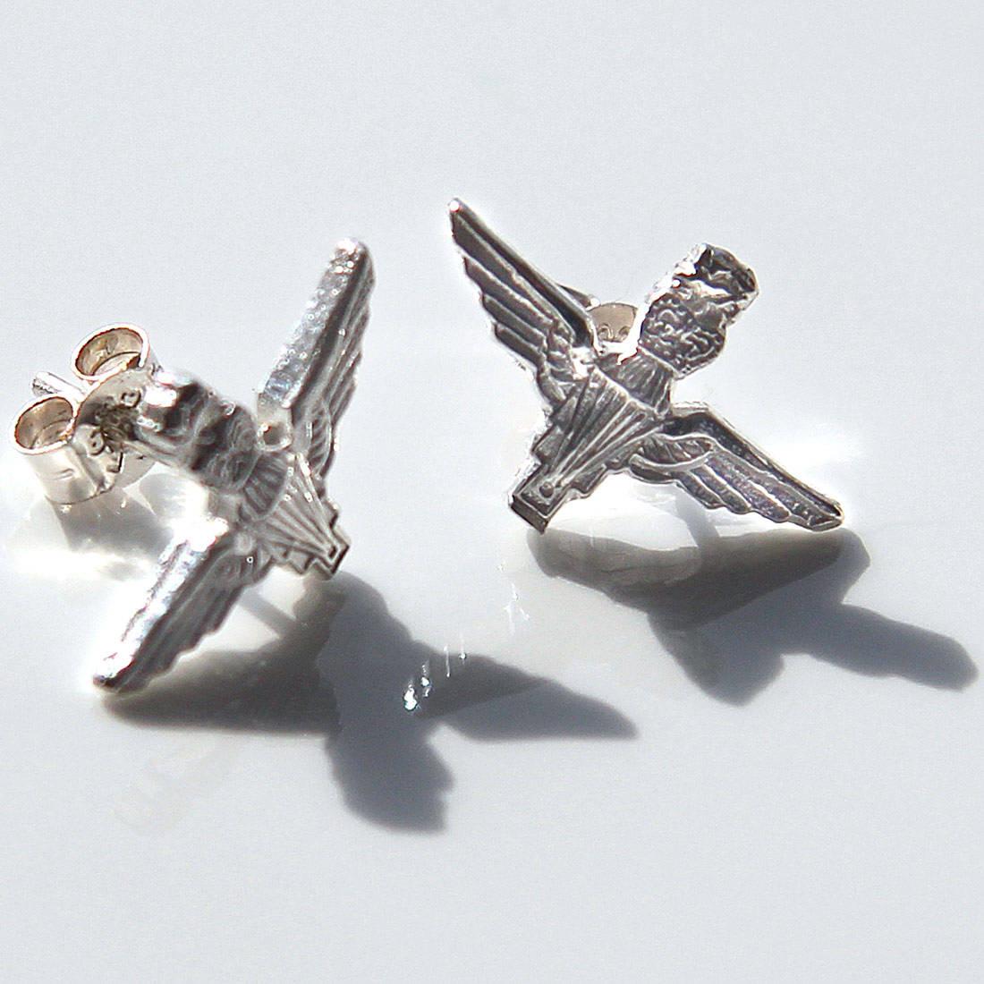 Sterling Silver Para Stud Earrings