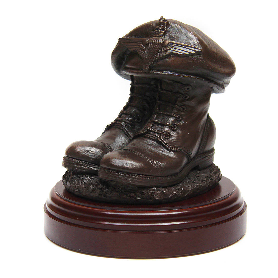 Parachute Regiment Boots And Beret Statue Resin Bronze