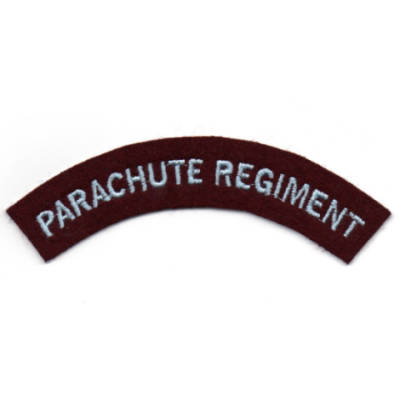 Parachute Regiment Shoulder Flashes Pair (L Blue Text On Maroon)