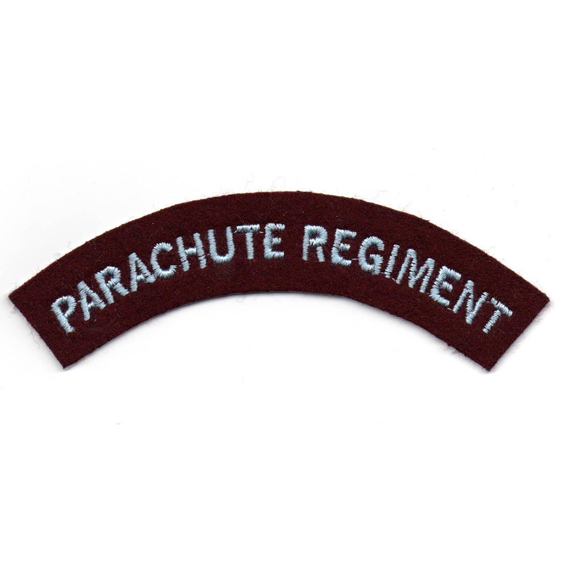 Parachute Regiment Shoulder Flashes Pair (L Blue Text On Maroon)