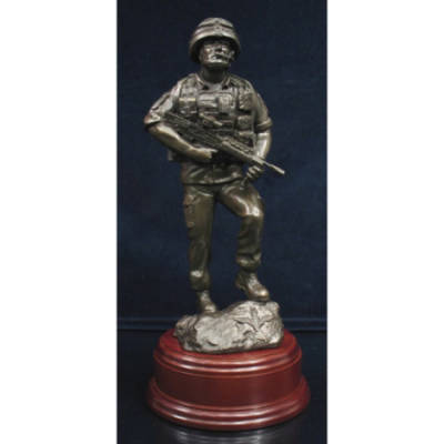 Op Herrick (Afghanistan) Early Days Para Statue (11 Inch, Resin Bronze)
