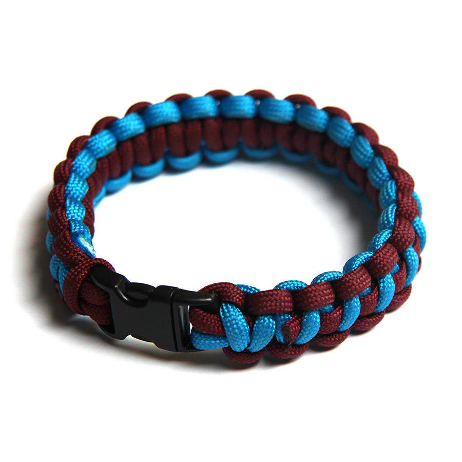 Paracord Survival Bracelet Maroon Blue