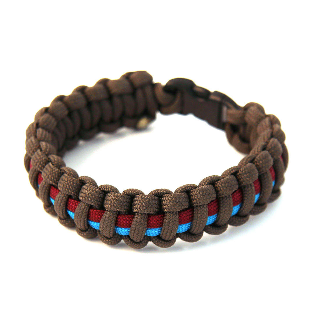 Paracord Survival Bracelet - Olive/Maroon/Blue