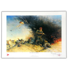 Paras Are Landing by Terence Cuneo Signed By Terence Cuneo And Sir Geoffrey Howlett (Print)