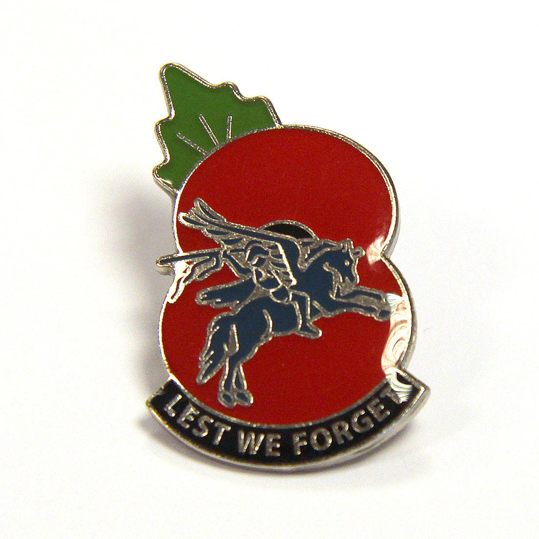 Pegasus Poppy Lapel Badge (Lest We Forget)