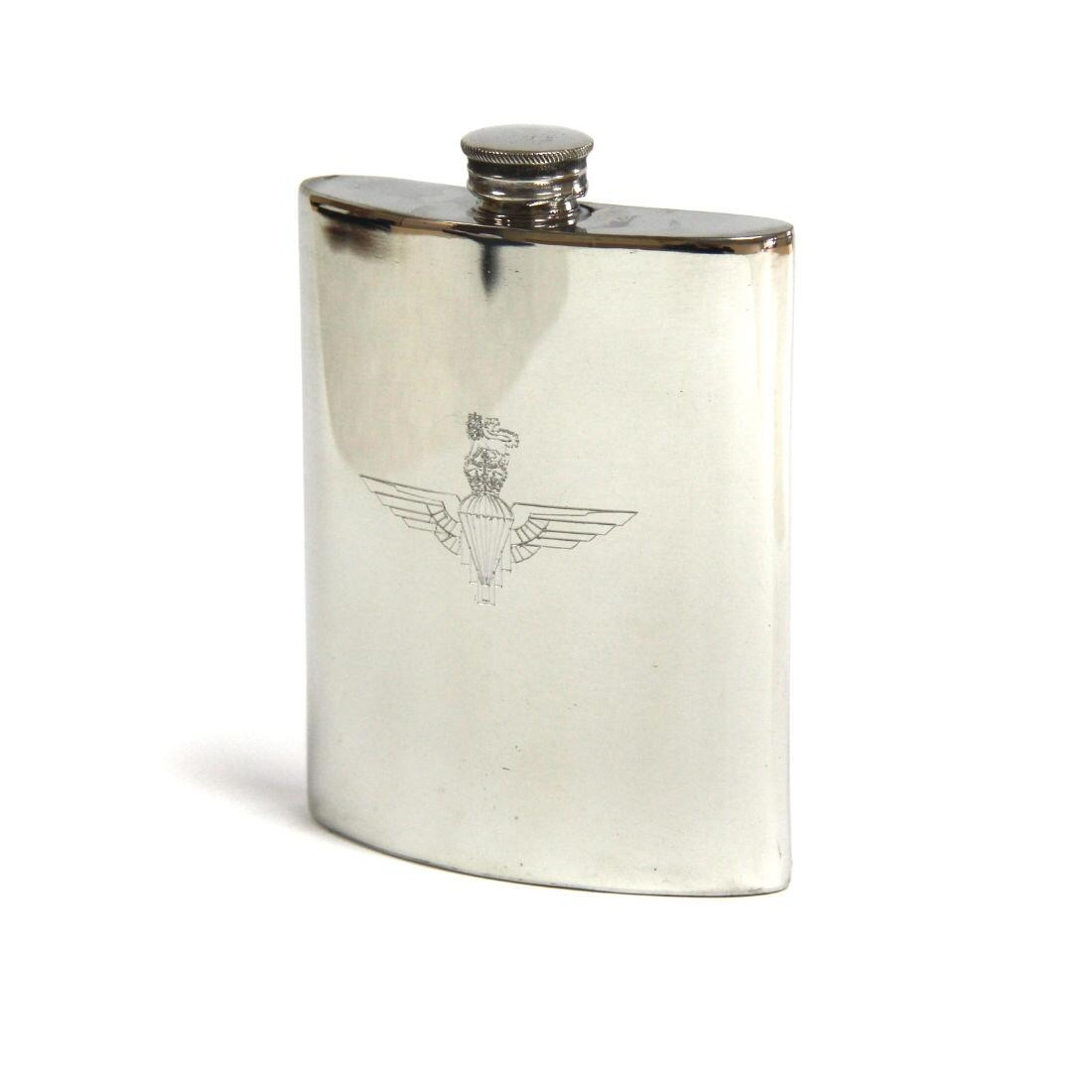 Pewter Hip Flask, Engraved - Parachute Regiment