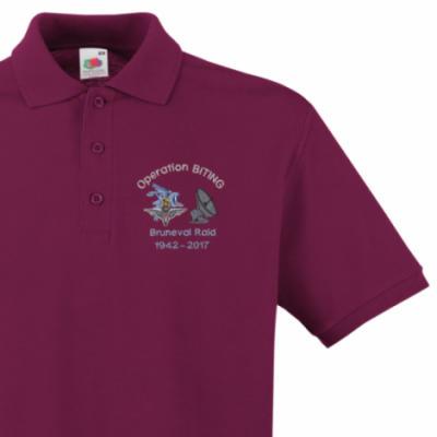 Polo Shirt - Maroon - Bruneval Raid (Operation Biting) 75th