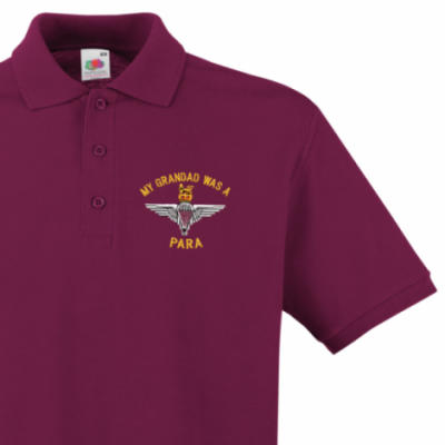 Polo Shirt - Maroon - My Grandad Was A Para (Para)