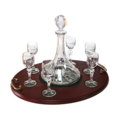 Port 7 Piece Seving Tray - Panel Cut Ships Decanter and Port Glasses (6) - Presentation of Colours 2021