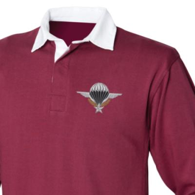 *CLEARANCE* Rugby Shirt, Large, Maroon, French Para Wings