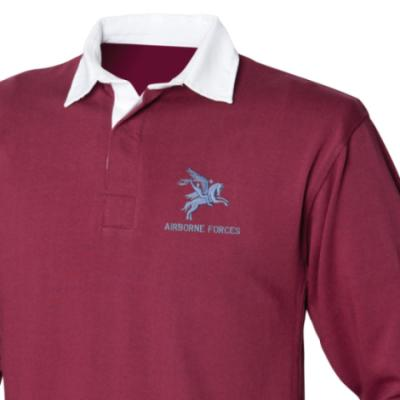 *CLEARANCE* Rugby Shirt, Medium, Maroon, Pegasus Airborne Forces, Pegasus Back Embroidery