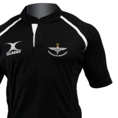 *CLEARANCE* Rugby Shirt (Gilbert Branded), Medium, Black, Para Cap-Badge (Print)