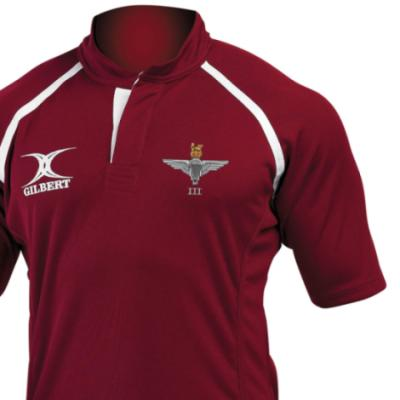 *CLEARANCE* Rugby Shirt (Gilbert Branded), Large, Maroon, 3 Para Cap-Badge, Para Back Embroidery