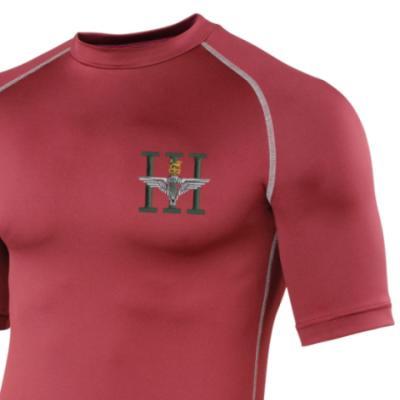 *CLEARANCE* Short Sleeved Rash Top, L/XL, Maroon, 3 Para (Battalion Numerals)