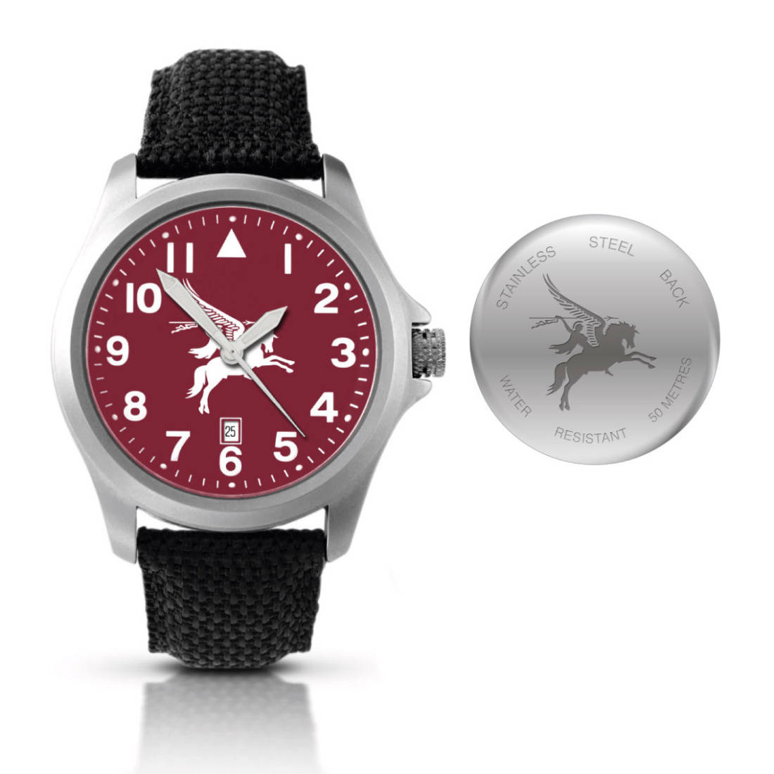 Stainless Steel Pegasus Watch with Fabric and Leather Strap